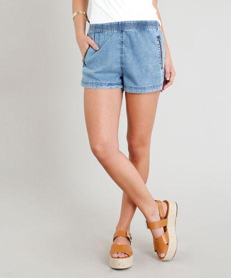 Short-Jeans-Feminino-Running-com-Ziper-no-Bolso-Azul-Claro-9370012-Azul_Claro_1