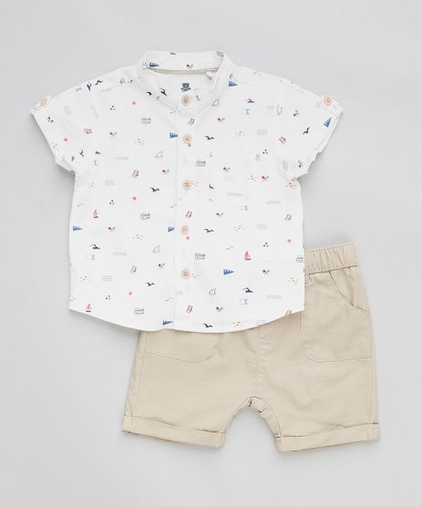 Conjunto-Infantil-de-Camisa-Estampada-em-Linho-Manga-Curta-Off-White---Bermuda-Kaki-9201530-Kaki_1