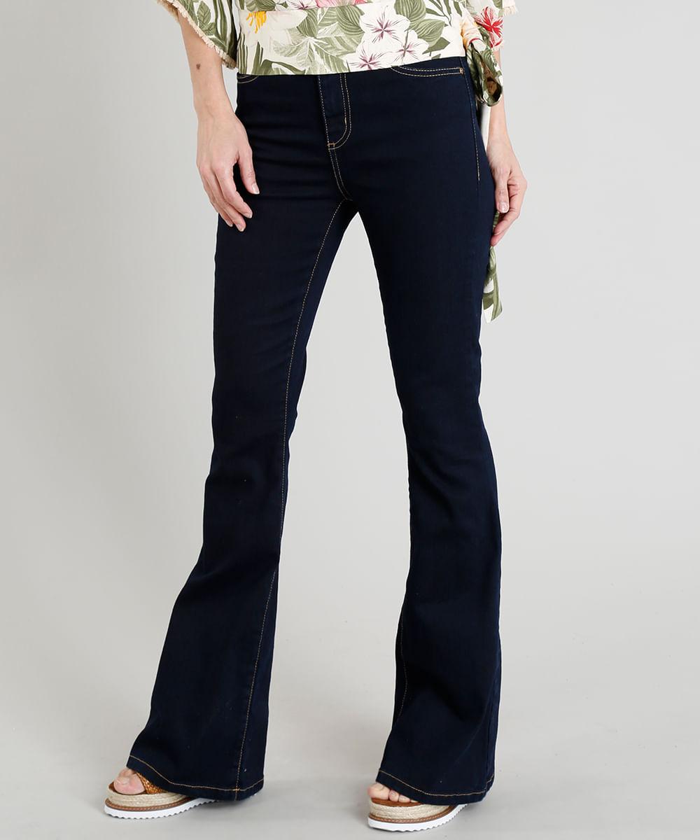 ee3407dad Calça Jeans Flare Feminina Cintura Alta com Pesponto Azul Escuro