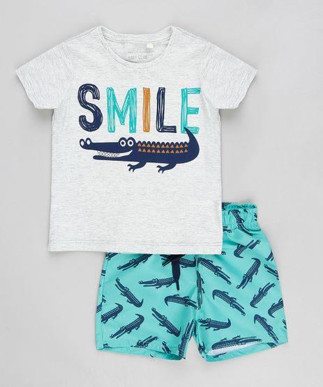 Conjunto-Infantil-de-Camiseta-Manga-Curta-Cinza-Mescla---Bermuda-Estampada-de-Jacares-Verde-Agua-9321303-Verde_Agua_1