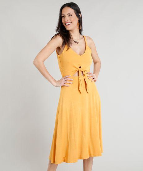 Vestido-Feminino-Midi-com-No-e-Recorte-Decote-V-Amarelo-9354719-Amarelo_1