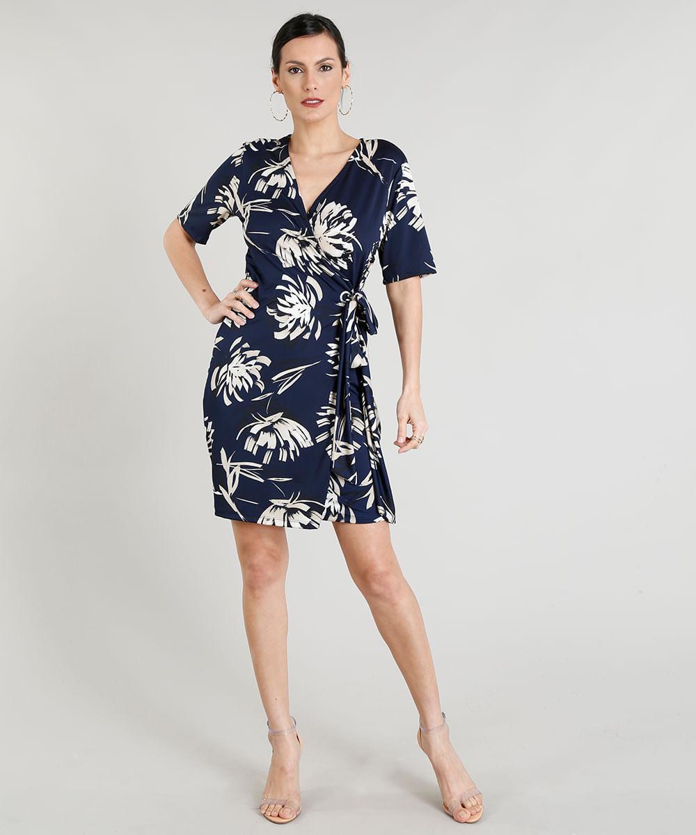 Vestido social curto azul marinho