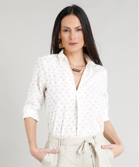 0559d91b7 Camisa Feminina Estampada de Poás Manga Longa Decote V Branca - cea