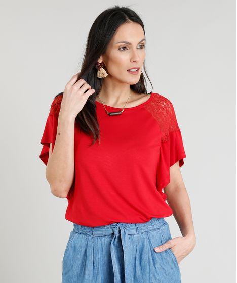 Blusa Feminina com Renda Manga Curta Decote Redondo Vermelha - cea 2a6040e6a5cff