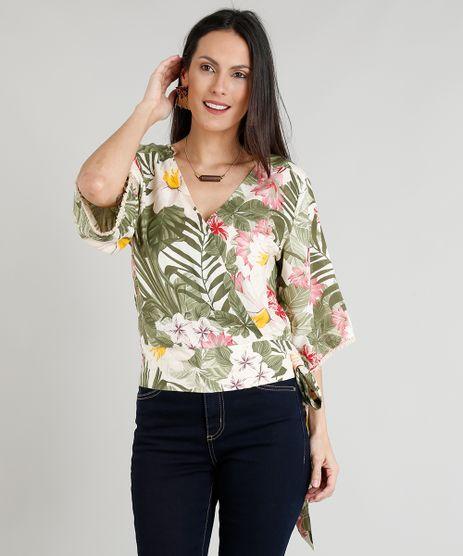 Blusa-Feminina-Estampada-Floral-com-Amarracao-Manga-Ampla-Bege-Claro-9252397-Bege_Claro_1