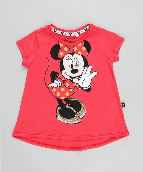 Blusa-Infantil-Minnie-com-Paetes-Manga-Curta-Decote-Redondo-Coral-9348616-Coral_1