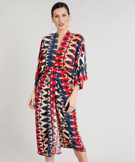 Vestido-Feminino-Midi-Estampado-Geometrico-com-Transpasse-Manga-Curta-Decote-V-Bege-9275645-Bege_1