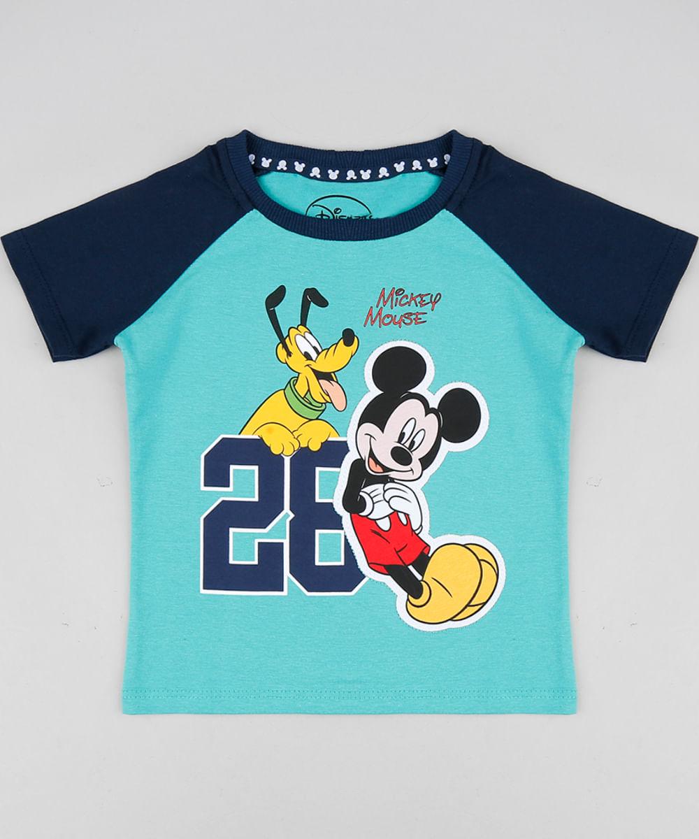 Camiseta Infantil com Estampa Mickey e Pluto Manga Curta Raglan Gola Careca  Verde Água 68cbb2e7ae087