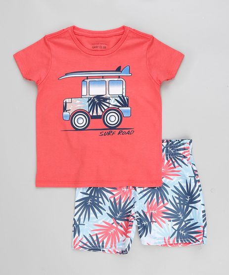 Conjunto-Infantil-de-Camiseta-Manga-Curta---Bermuda-Estampada-de-Folhagem-Coral-9321304-Coral_1