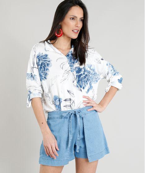 fd508ea1d Camisa Feminina Estampada Floral com Bolso Manga Longa Off White - cea