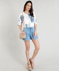 e1f16eef2 Camisa Feminina Estampada Floral com Bolso Manga Longa Off White ...