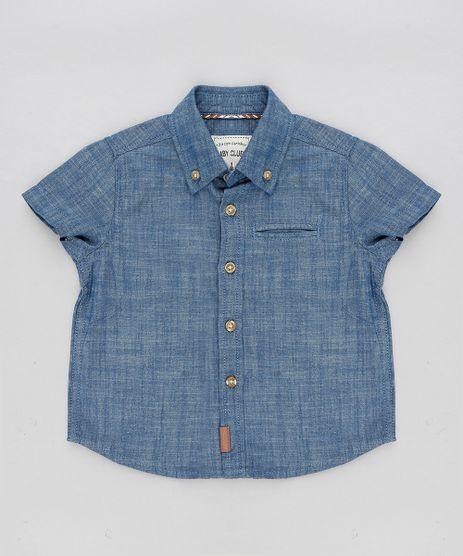 Camisa-Jeans-Infantil-Manga-Curta-com-Bolso-Azul-Escuro-9307468-Azul_Escuro_1