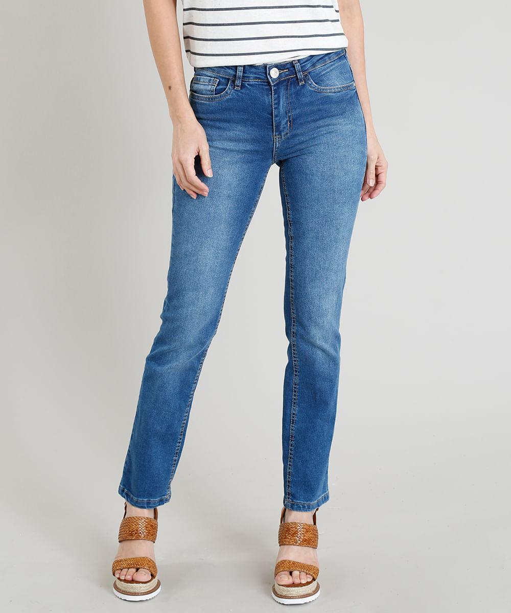 611da3d600 Calça Jeans Reta Feminina Cintura Média com Bolsos Azul Médio - cea