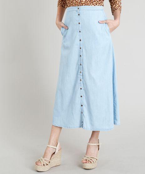 Saia-Jeans-Feminina-Midi-com-Botoes-Azul-Claro-9365675-Azul_Claro_1