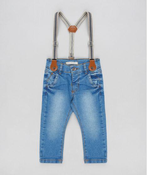 Calça Jeans Infantil Slim com Suspensório Azul Claro - cea a02168ce490