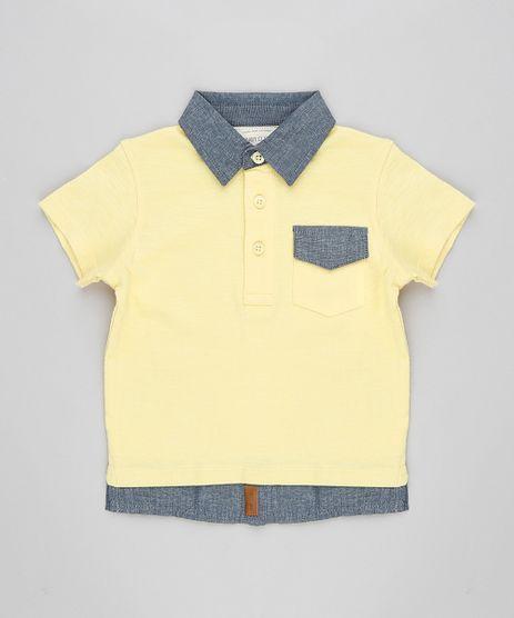 Polo-Infantil-com-Efeito-de-Sobreposicao-Manga-Curta-Gola-Esporte-Amarelo-Claro-8668674-Amarelo_Claro_1