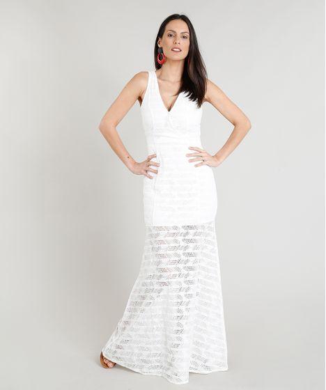 d5465477b14c Vestido Feminino Longo em Renda Transpassado Decote V Off White - cea