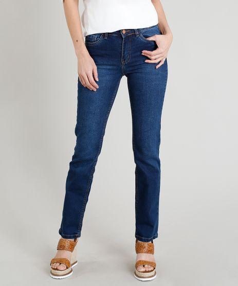 Calca-Jeans-Reta-Feminina-Cintura-Media-com-Bolsos-Azul-Escuro-9372332-Azul_Escuro_1