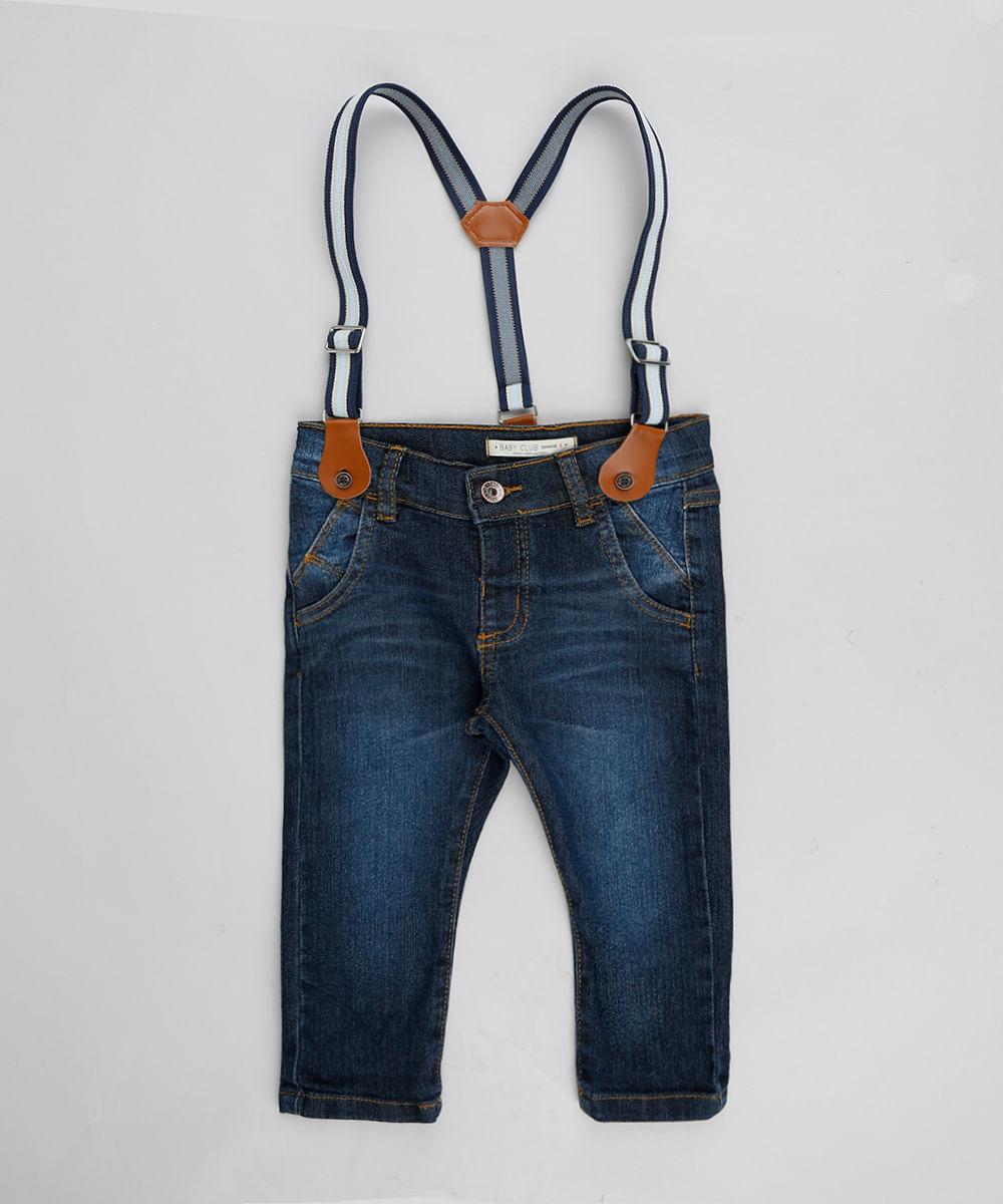 7ed275395bb Calça Jeans Infantil Slim com Suspensório Azul Escuro - cea