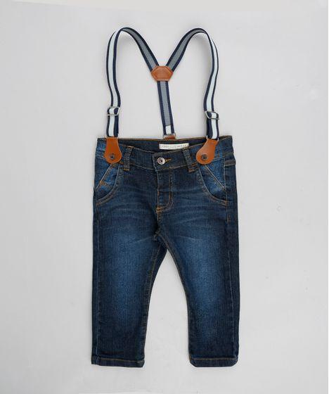 Calça Jeans Infantil Slim com Suspensório Azul Escuro - cea 25a6bdef0d5