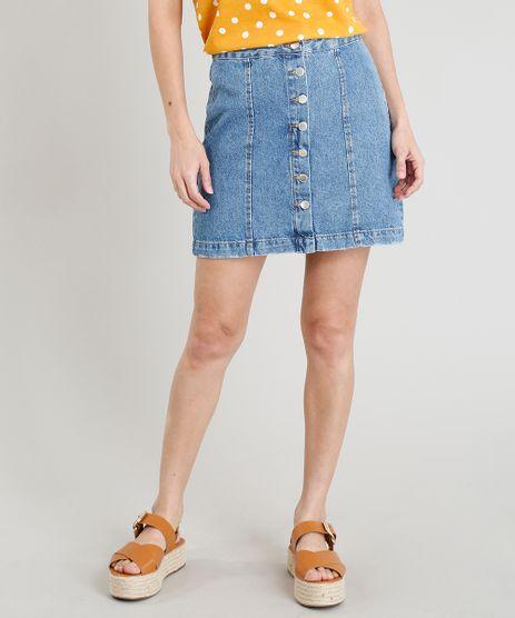 Saia-Jeans-Feminina-Curta-com-Botoes-Azul-Claro-9372307-Azul_Claro_1