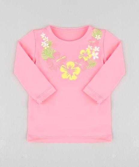 Blusa-de-Praia-Infantil-com-Estampa-Floral-Manga-Longa-Decote-Redondo-com-protecao-UV50--Rosa-Neon-9300532-Rosa_Neon_1
