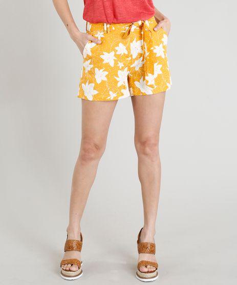 Short-Feminino-em-Linho-Estampado-Floral-com-Faixa-de-Amarracao-Amarelo-9281483-Amarelo_1