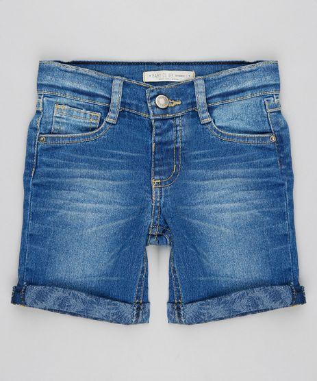 Bermuda-Jeans-Infantil-Reta-com-Barra-Estampada-de-Folhagem-Azul-Medio-9308628-Azul_Medio_1