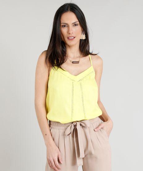 Regata-Feminina-Ampla-Decote-V-com-Renda-Amarelo-Claro-9273825-Amarelo_Claro_1