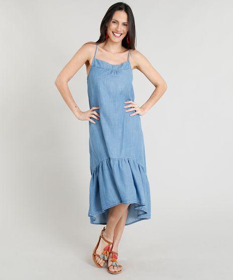 Vestido-Jeans-Feminino-Midi-com-Babado-Alcas-Finas-Decote-Redondo-Azul-Claro-9365640-Azul_Claro_1