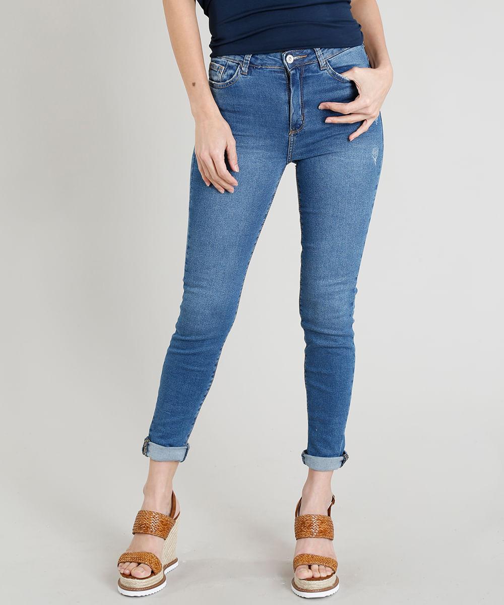 b89acb128 Calça Jeans Cigarrete Feminina Destroyed Cintura Alta Azul Médio ...