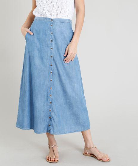 Saia-Jeans-Feminina-Midi-com-Botoes-Azul-Claro-9365676-Azul_Claro_1