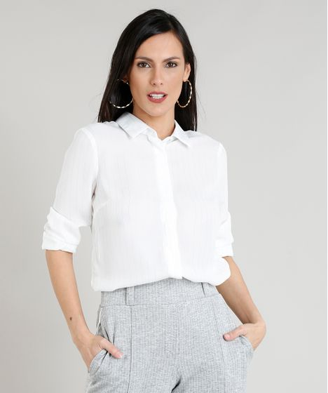 4f3eaf208c Camisa Feminina Risca de Giz com Lurex Manga Longa Branca - cea