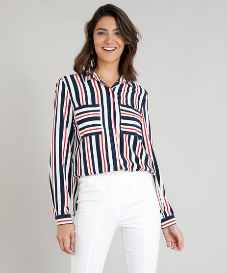 Camisa-Feminina-Listrada-com-Bolsos-Manga-Longa-Branca- ad3f47859f2f9