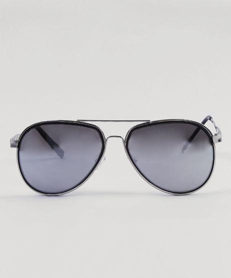 3a93413e95cca Oculos-de-Sol-Aviador-Masculino-Oneself-Prateado-9430433-