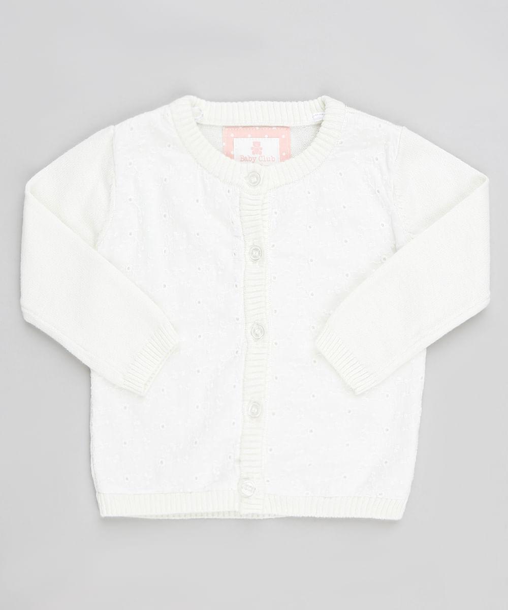 34559016f9dae Cardigan Infantil em Tricô com Laise Manga Longa Off White - cea