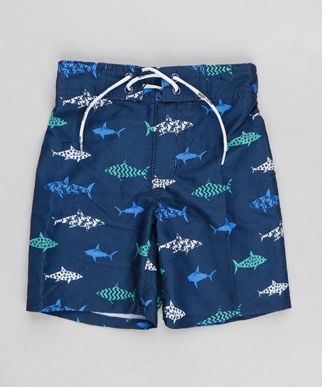 Bermuda-Surf-Infantil-Estampada-de-Tubaroes-com-Cordao-Azul-Marinho-9216230-Azul_Marinho_1