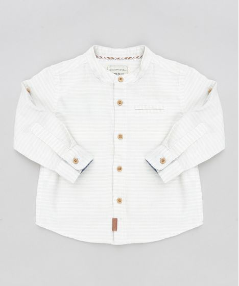 12762c1b2f Camisa Infantil Listrada Gola Padre Manga Longa Off White - cea