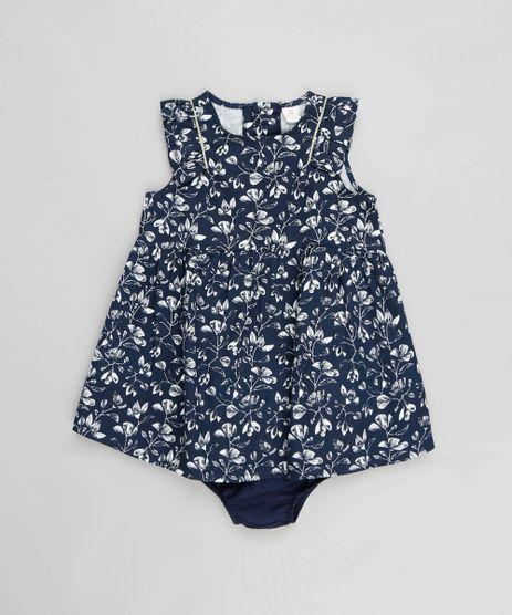 Vestido-Infantil-Estampado-Floral-com-Babado---Calcinha-Azul-Marinho-9116666-Azul_Marinho_1
