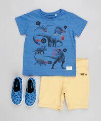 23cc99b4033c9 Camiseta Infantil Flamê com Estampa Dinossauros Manga Curta Gola ...