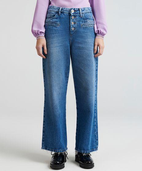 Calca-Jeans-Feminina-Pantalona-Mindset-Cintura-Baixa-com-Botoes-Azul-Medio-9391033-Azul_Medio_1