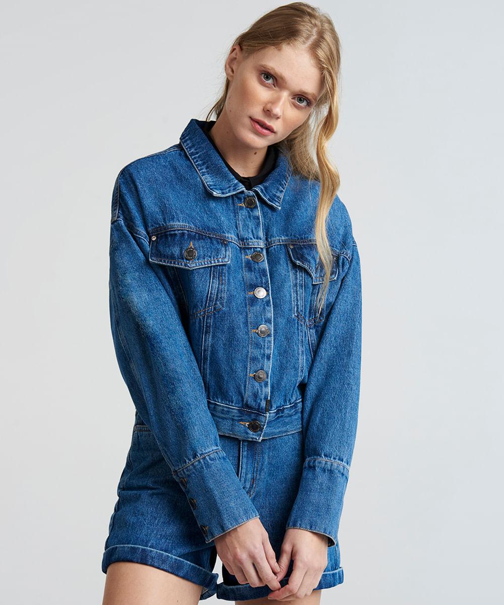 731468c33 Coisas de crianças  Jaqueta Jeans Cropped Feminina com Bolsos Azul ...