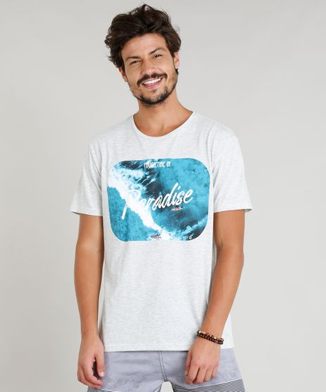Camiseta-Masculina--Paradise--Manga-Curta-Gola-Careca-Cinza-Mescla-Claro-9275867-Cinza_Mescla_Claro_1