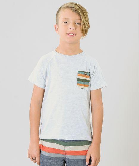Camiseta Infantil Água de Coco Tal Pai Tal Filho com Bolso Listrado Manga  Curta Gola Careca Cinza Mescla Claro - cea 12b450ec41b96