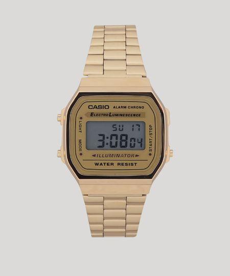 2885688a1e082 Relógio Digital Casio Unissex - A168WG9WDFU Dourado - cea