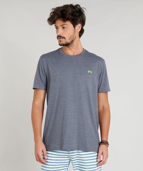 Camiseta-Masculina-com-Bordado-de-Coqueiro-Manga-Curta-Gola-Careca-Cinza-Mescla-Escuro-9382523-Cinza_Mescla_Escuro_1