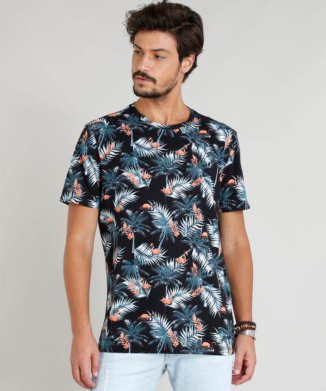 Camiseta-Masculina-Estampada-Tropical-Manga-Curta-Gola-Careca-Preta-9382524-Preto_1