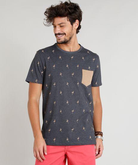 Camiseta-Masculina-Estampada-de-Flamingos-com-Bolso-Manga-Curta-Gola-Careca-Cinza-Mescla-Escuro-9382527-Cinza_Mescla_Escuro_1
