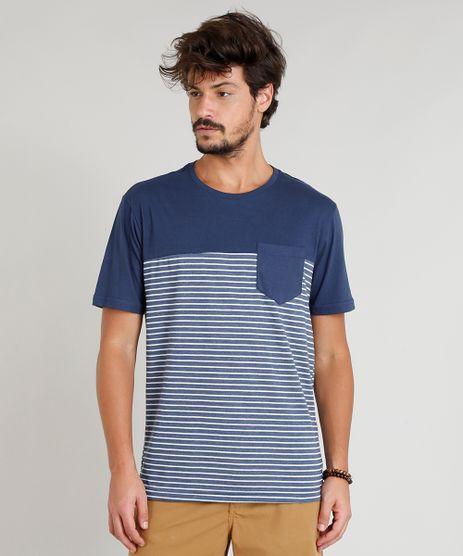 Camiseta-Masculina-com-Recorte-e-Bolso-Manga-Curta-Gola-Careca-Azul-Marinho-9380988-Azul_Marinho_1
