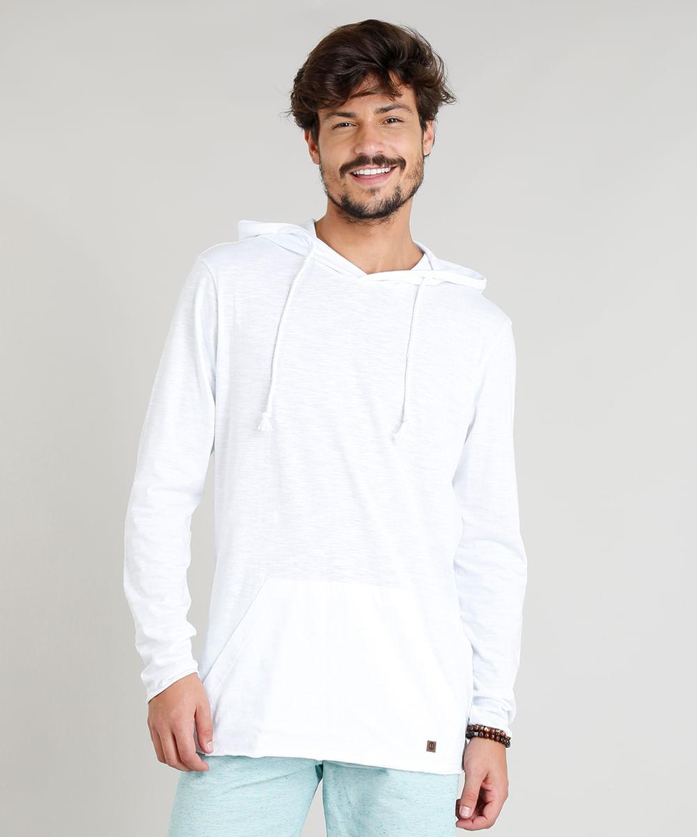 fd22aaeca3 Camiseta Masculina Flamê com Capuz e Bolso Manga Longa Branca - cea